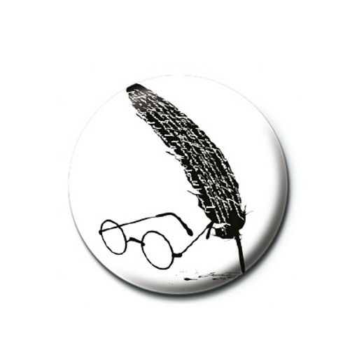 Harry Potter Glasses and Quill Silhouette Button Badge